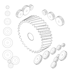 Set of gear wheels in black and white by changing vector