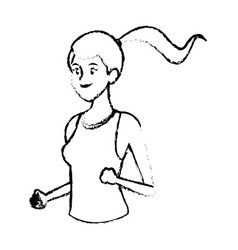 Sketch girl face sport fitness design vector