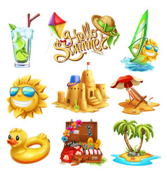 Summer set 3d icon vector