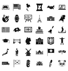 Topography icons set simple style vector