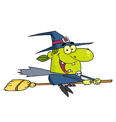 Wicked Halloween Witch Flying vector image vector image