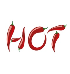 Word hot assembled from red peppers vector