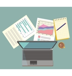 Work Table Document and Laptop Design Flat vector image vector image