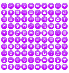 100 e-commerce icons set purple vector
