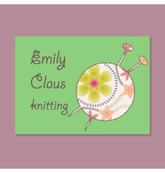 Vintage business card for knitting vector
