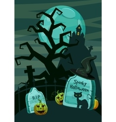 Halloween spooky cemetery concept cartoon style vector