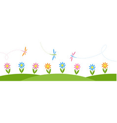 horizontal background with flowers and dragonflies vector image