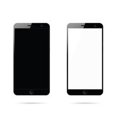 Mobile phone in black set design vector