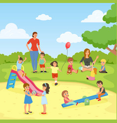 Babysitters with kids flat composition vector