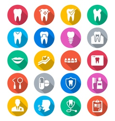 Dental flat color icons vector image