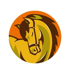 Horse stallion head retro vector