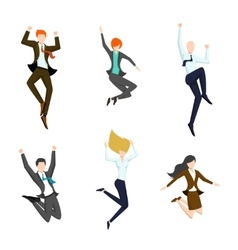 Jumping business people in the air happy and vector