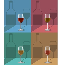 Glasses of wine on metal stand with shadows vector