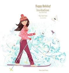 Invitation card with happy girl is skiing for your vector