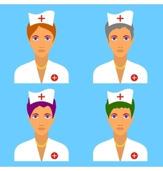 set of nurse characters vector image