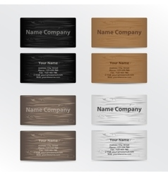 Set of business cards with wood texture vector