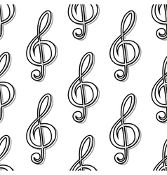 Outline seamless pattern with musical clefs vector image