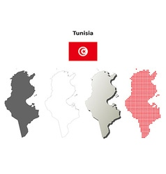 Tunisia outline map set vector