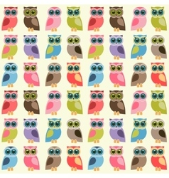 background with colorful owls and owlets vector image