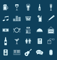 Bar color icons on blue background vector