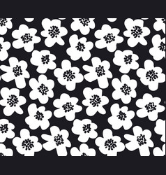Black and white summer floral in retro 60s style vector