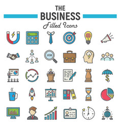 Business colorful line icon set finance signs vector