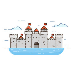 castle color line icon vector image vector image