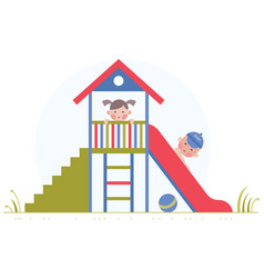 children are played on a slide vector image