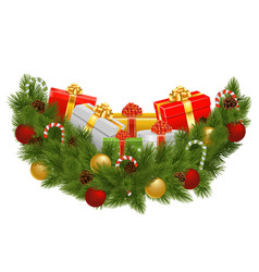 Christmas Decoration with Gifts vector image vector image