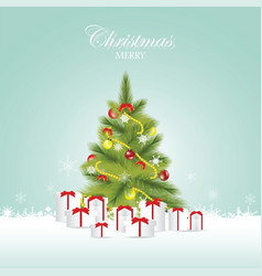 christmas tree and christmas balls with gift boxes vector image vector image