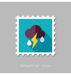 Cloud rain lightning flat stamp weather vector