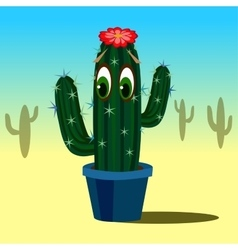 Cute cartoon cactus with eyes in flower pot vector image vector image