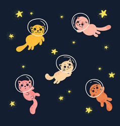 cute home cats in space wearing helmets vector image