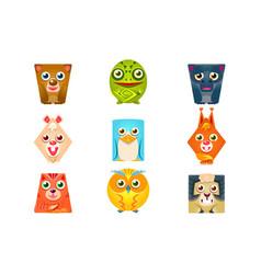 Geometric shape flat cartoon animals set of vector