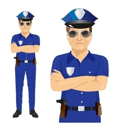 Handsome middle-aged police officer vector