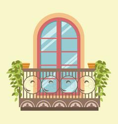 house window balcony facade retro style vector image
