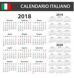 Italian calendar for 2018 2019 and 2020 scheduler vector