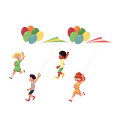 kids boys and girls running with colorful kites vector image