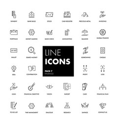 Line icons set finance vector