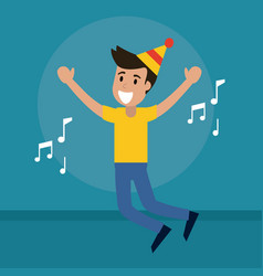 Man cheerful dance music vector
