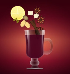 Mulled wine with christmas spices orange anise vector