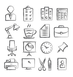 office doodle icons vector image