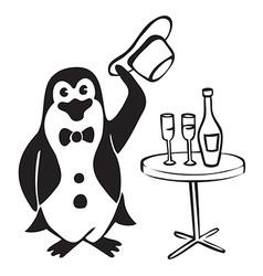 Penguin gentleman with wine vector