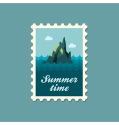 Rocks in the sea stamp Summer Vacation vector image