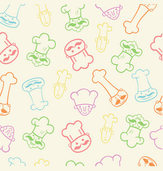 seamless pattern of funny chefs vector image vector image