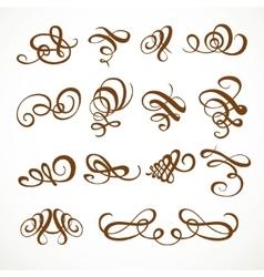 Set calligraphic symmetrical and asymmetrical vector