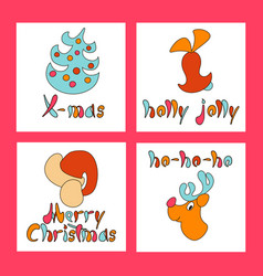Set of christmas greeting cards new year xmas vector