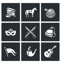 Set of Hussars Icons Shako Horse vector image
