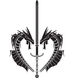 stencil of dragons and medieval sword vector image vector image
