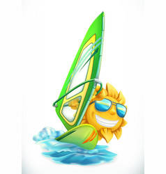 Summer windsurfing funny sun on surfboard 3d icon vector